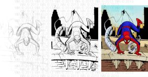 Stages of a Spidey Drawing by warmuzak