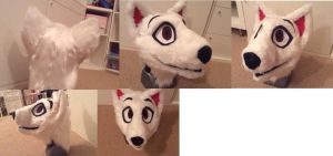 Bull terrier fursuit head for sale by Yamishizen