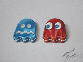 Blinky and Inky Pac Man Ghost Sours Candy Tin by marcellobarenghi