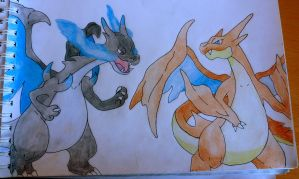 Mega Charizards x and y by Krayzieee