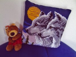 Wolves Cushion by MoonyMina