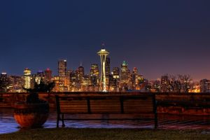 Bench and Seattle by UrbanRural-Photo