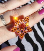 Creamsicle Dreamin Swarovski Star Ring by JoshsPonyPrincess