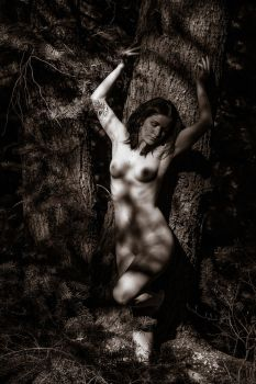 Tree trunk with Nude Woman by rylstone