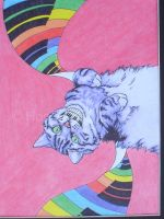Rainbow Piano Cat by JennyQuest