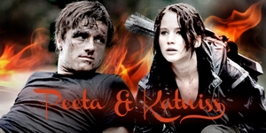Peeta and Katniss on Fire by Xavvu