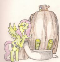 Fluttershy and Woodman by TheGloriesBigJ