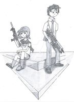 Partners for Life Black and White by TheRebornAce