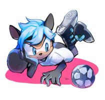 Zeta the Blue raccoon by lujji