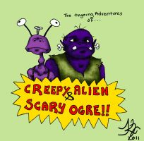 Creepy Alien and Scary Ogre by zombiepencil