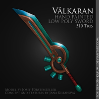 Valkaran - low poly hand painted sword by foxinsoxx