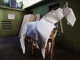 Life-sized origami horse by ObeseRhino