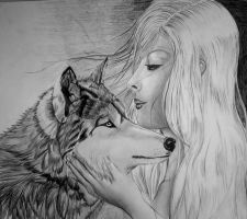 Girl and wolf DRAW by DoktorekPL