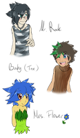 .:Human:. Humanized Mr. Rock, Baby and Mrs. Flower by SilverfanNumberONE