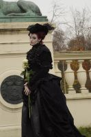 Stock - Gothic woman with roses 4 by S-T-A-R-gazer
