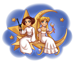 Princess Leia and Princess Serenity by daekazu