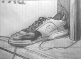 desk'd shoe ~ sight drawing by Give1000Smiles
