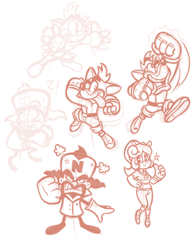 SAI Doodles - Crash Bandicoot Sketches by JamesmanTheRegenold
