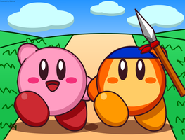 Kirby and Waddle Dee in Dream Land by Kittykun123