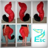 Fursuit Tail: Red and Black Wolf/Husky by Eternalskyy