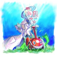 Colress and Rotom 1 - Mowing Grass by MellowMeloetta