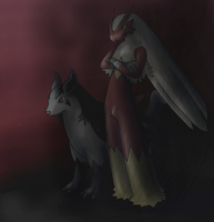 AdvidAuthor-Blaziken+Mightyena by Weyard