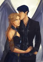 Feyre and Rhysand by taratjah