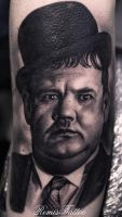 Laurel and Hardy portrait tattoo by Remistattoo