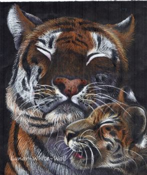 Mother and baby tiger by Lunar-White-Wolf