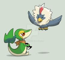 snivy-lando and rufflet-hersh by Luphin