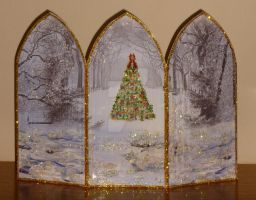 Triple Arched Winter Scene And Xmas Tree Card by blackrose1959