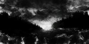 black and white landscape by Arteshu