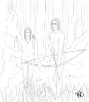 WIP: Loghain and Maric hunting by VelvetRue