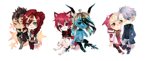 Mini chibi couples by Pandastrophic