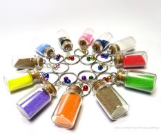 Large Colored Sand Keychains by birdsoup