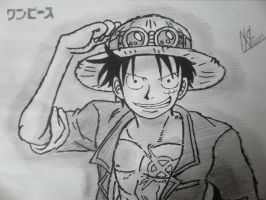 Monkey D.Luffy drawing by SuperNikolai1996