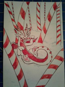 CandyCane Dragon - Holiday Gift by Usatou