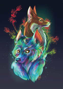The Blue Wolf and Forest Fox by JetG