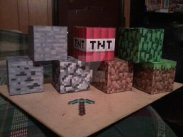 Blocks and Pickaxe PaperCrafts by SuperVegeta71290