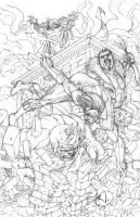 Nightwing vs Spidey Rogues by RudyVasquez