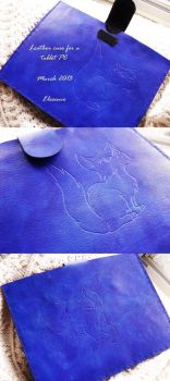 Tablet PC leather case with kitten by Elescave