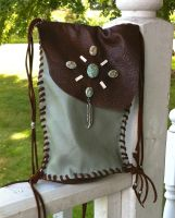 Hand Stitched Leather Purse with Jasper Beads by jhammerberg