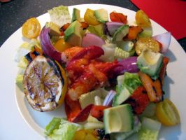 Lobster and grilled vegetable salad by chrisravensar