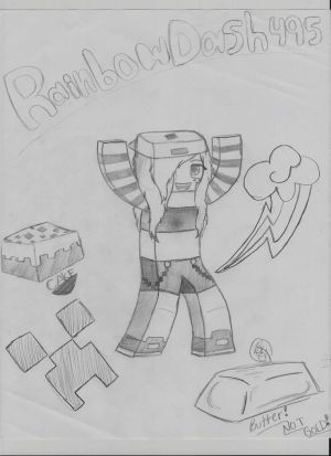 Me in Minecraft 3D drawing (un-colored) by RainbowDash5050