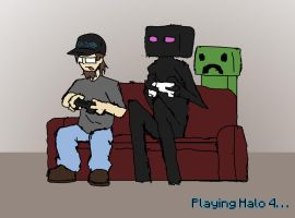 Playing Halo 4 by SketchyBehavior
