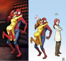 Firestar hugs Spider-man 2 by Mythical-Mommy