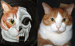 Custom Skull Cat Painting by sobeyondthis