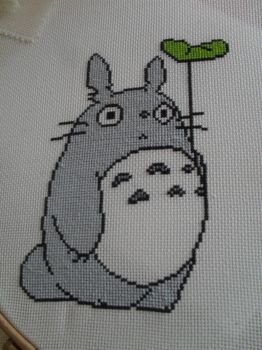 Finished totoro cross stitch by foreverstrawberries