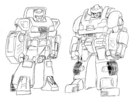 Skids and Mudflap, G1 style by EmeraldBeacon