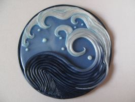 Fimo decoration Kanagawa's wave_the return by kamen-kage